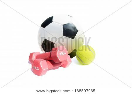 Various sports equipment, isolated on a white background