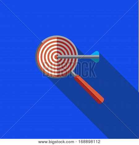 Vector icon or illustration showing web site seo ranking with magnifying glass and targetin flat design style with long shadow