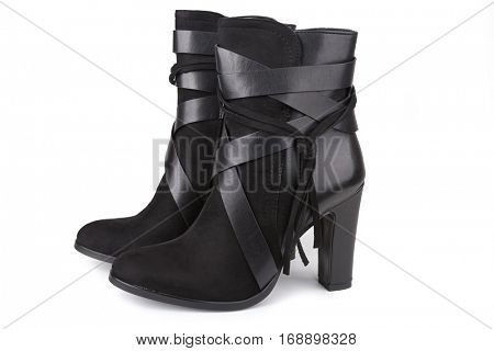 Black ankle boots isolated on white (with shadow)