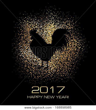 Rooster. New Year Greeting Card with Symbol of 2017 on the Chinese Calendar. Cock on the Gold Glitter Background.