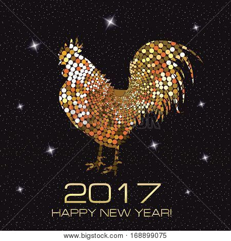 Gold Rooster. New Year Greeting Card with Symbol of 2017 on the Chinese Calendar. Fire Abstract Cock.