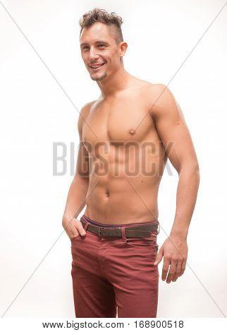 Young Man Shirtless Pants Body Muscular Model Smiling