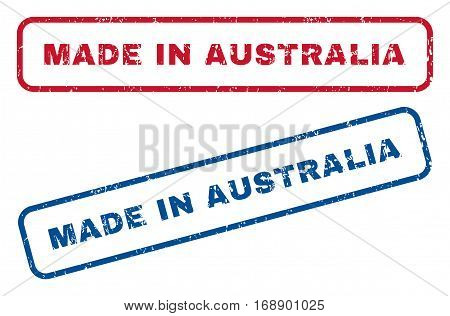 Made In Australia text rubber seal stamp watermarks. Vector style is blue and red ink tag inside rounded rectangular banner. Grunge design and dust texture. Blue and red emblems.