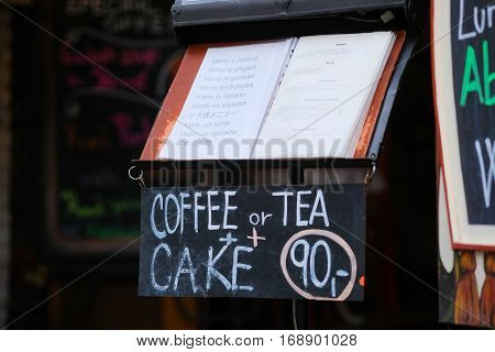 Prague, Czechia - November, 21, 2016: cafe signboard in Prague, Czechia