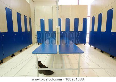 Interior of a locker room in fitness club