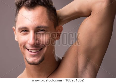 Young Man Smiling Face Head Closeup, Arm Raised Up