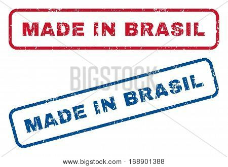 Made In Brasil text rubber seal stamp watermarks. Vector style is blue and red ink caption inside rounded rectangular shape. Grunge design and unclean texture. Blue and red signs.
