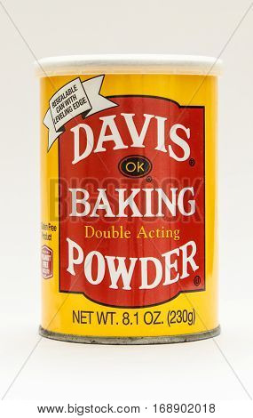 New York January 30 2017: A pack of Davis baking powder isolated on white background.
