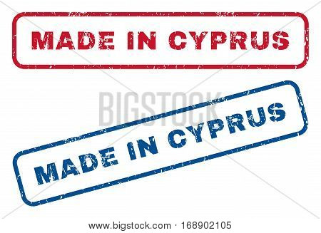 Made In Cyprus text rubber seal stamp watermarks. Vector style is blue and red ink tag inside rounded rectangular shape. Grunge design and dust texture. Blue and red stickers.