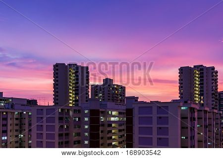 Apartment Dusk, Living Flat Sunset, Twilight Skyscraper Time Aerial View