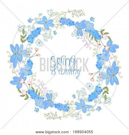 Round wreath made of blue primroses - muscari and hepatica. Template for spring greeting cards