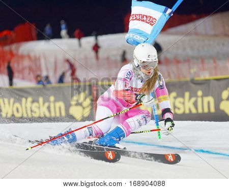 STOCKHOLM SWEDEN - JAN 31 2017: Resi Stiegler (USA) in the parallel slalom downhill skiing at the Alpine Audi FIS Ski World Cup - city event January 31 2017 Stockholm Sweden