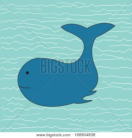 Whale a hand drawn vector illustration of a whale swimming in the ocean.