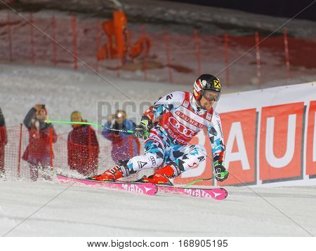STOCKHOLM SWEDEN - JAN 31 2017: Test skiier i in the parallel slalom alpine ski event Audi FIS Ski World Cup. January 31 2017 Stockholm Sweden