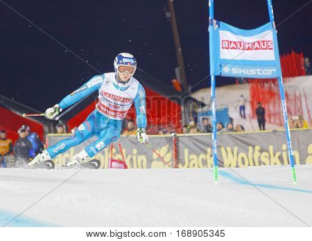 STOCKHOLM SWEDEN - JAN 31 2017: Jonathan Nordbotten (NOR) fighting in the parallel slalom alpine ski event Audi FIS Ski World Cup. January 31 2017 Stockholm Sweden