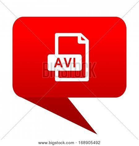 avi file bubble red icon.