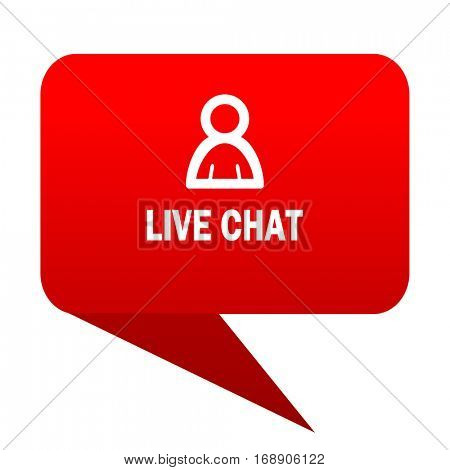 live chat bubble red icon