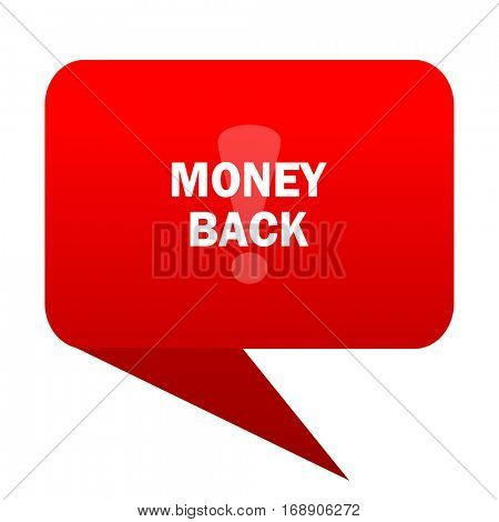 money back bubble red icon