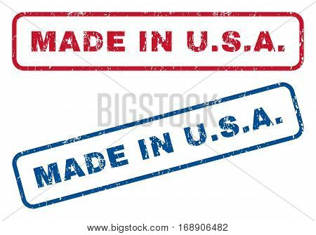 Made In U.S.A. text rubber seal stamp watermarks. Vector style is blue and red ink tag inside rounded rectangular shape. Grunge design and scratched texture. Blue and red stickers.