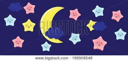 Cute kawaii stars and crescent. Background for kids babies and children design with night sky characters. Vector illustration