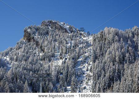 HINTERTUX, AUSTRIA - MARCH 28, 2015: Snowy mountainside at the Hintertuxer Glacier (Tuxer Ferner Glacier) in Tyrol Austria
