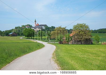 Bavarian Landscape With Cloister On The Hill