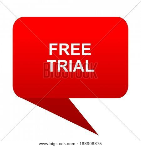 free trial bubble red icon
