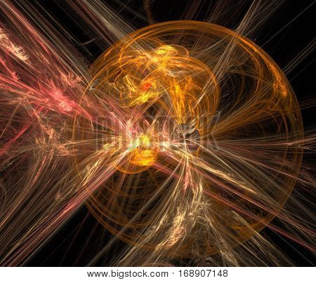 Gold illusion. Abstract background fractal image syurreal. Background from multi-colored fractal structure. Illustration Space Geometry