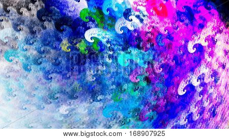 Whitecaps waves. Curls. Storm sea. 3D surreal illustration. Sacred geometry. Mysterious psychedelic relaxation pattern. Fractal abstract texture. Digital artwork graphic astrology magic