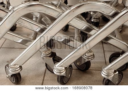 Many wheels of mall push carts closeup shot vintage color-look