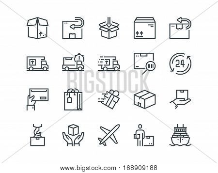 Delivery. Set of outline vector icons. Includes such as Loading, Express Delivery, Tracking Number Search, Cargo Ship and other. Editable Stroke. 48x48 Pixel Perfect