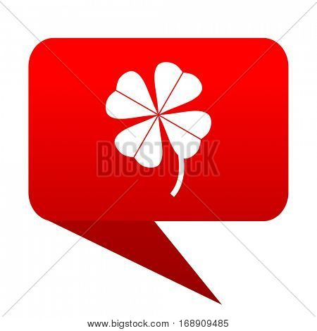 four-leaf clover bubble red icon