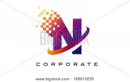 Letter N Colourful Logo. Rainbow N Letter Icon with Shattered Blocks.