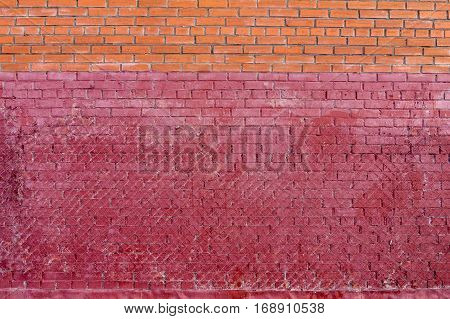 Red brown old rough brick wall for texture and background.