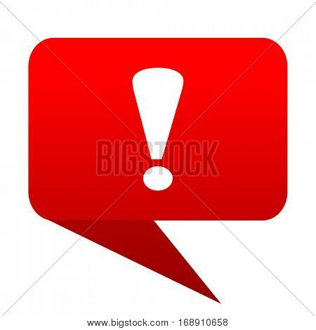 exclamation sign bubble red icon