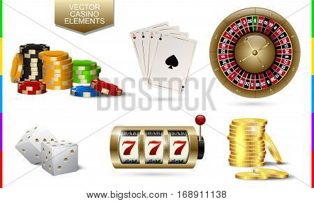 Casino golden icon isolated on white background. Chip poker card roulette slot machine coins money and white dice set