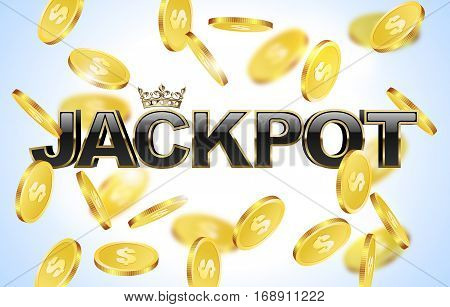 Black glossy jackpot text with crown in golden frame and falling coins background. Winner casino