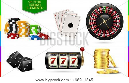Casino icon isolated on white background. Chip poker card roulette slot machine coins money and black dice set