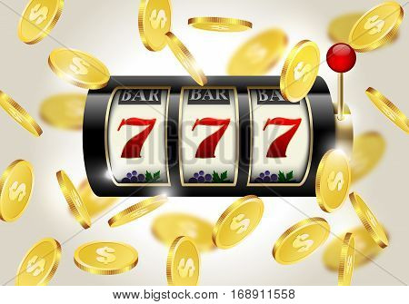Slot machine with lucky seven and falling golden coins background. Winner casino