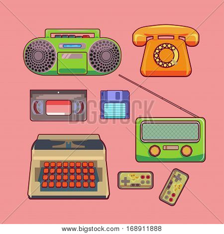 Color and bright vector set sticker retro technology: telephone tape recorder radio videotapes typewriter