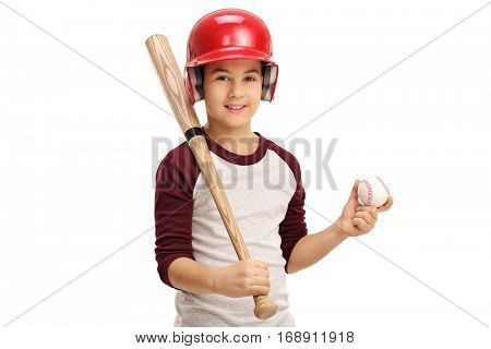 Boy holding a baseball and a bat isolated on white background