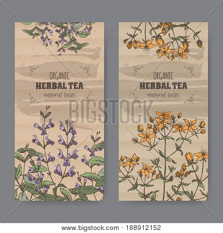 Set of two color vintage labels for sage and Saint John wort herbal tea. Placed on cardboard texture.
