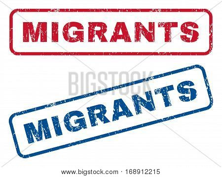 Migrants text rubber seal stamp watermarks. Vector style is blue and red ink caption inside rounded rectangular banner. Grunge design and dirty texture. Blue and red signs.