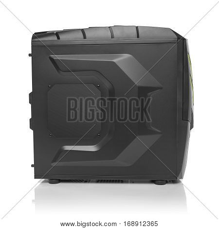 Modern black computer system unit isolated on whte