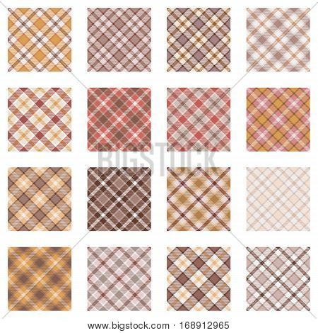 Plaid patterns collection, 16 seamless tartan patterns in warm colors