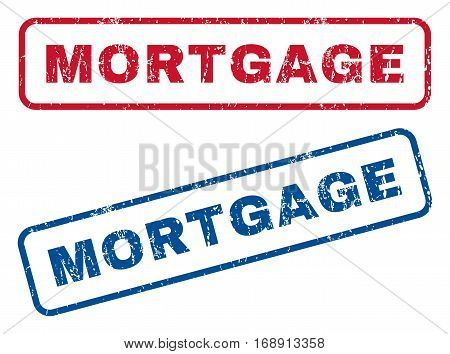 Mortgage text rubber seal stamp watermarks. Vector style is blue and red ink caption inside rounded rectangular banner. Grunge design and unclean texture. Blue and red signs.