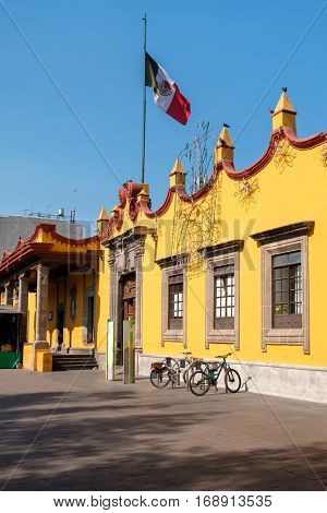 The colonial Town Hall Palace at Coyoacan in Mexico City