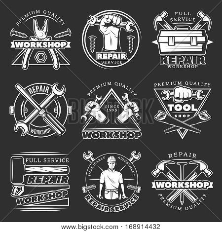 White isolated vintage repair workshop logo set with premium quality service workshop description par example vector illustration