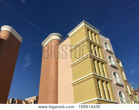A residential builing view from below. An urban living in Dubai, UAE.