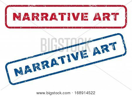 Narrative Art text rubber seal stamp watermarks. Vector style is blue and red ink tag inside rounded rectangular shape. Grunge design and unclean texture. Blue and red stickers.
